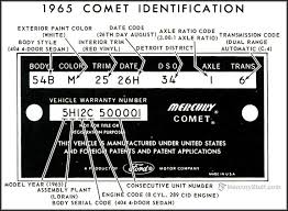 1965 mercury comet vin identification