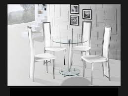 glass and chrome dining table round clear glass chrome dining table and 4 white chairs