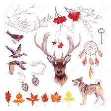 autumn vector design set rowan tree deer