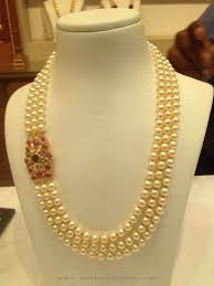 three layer pearl mala with ruby side locket pearl necklace