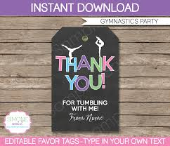 gymnastics party favor tags thank you tags birthday party
