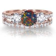 ebay rings opal images 14k rose gold round black fire opal engagement wedding sterling jpg
