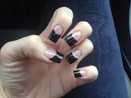 black tips solar nail design nail art bling on the ring finger