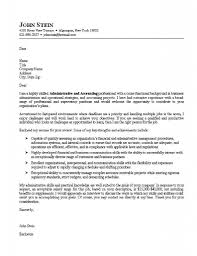 internship cover letter administrative and accounting