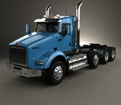 volvo 18 wheeler kenworth t800 chassis truck 4 axle 2005 3d model rkaa pinterest