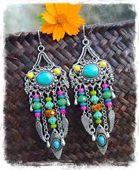 Colorful Chandelier Earrings Turquoise Gypsy Hippie Earrings Colorful Long Earrings By Gpyoga
