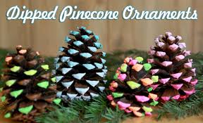 cute image of decorative colorful painted pine cone ornament for