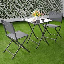 Garden Patio Table And Chairs 3 Pcs Bistro Outdoor Folding Furniture Set Outdoor Furniture
