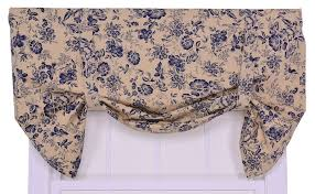 amazon com ellis curtain palmer floral toile lined tie up valance
