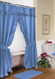 Tie Back Curtains Coffee Tables Ruffled Double Swag Shower Curtain With Valance