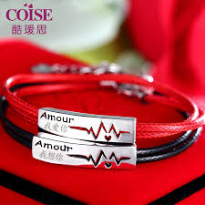 red bracelet men images Coise couple bracelets black red leather bracelets for men and jpg