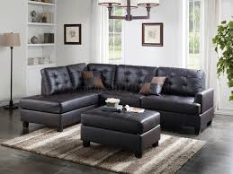 f6855 sectional sofa and ottoman set in espresso faux leather