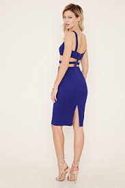 forever 21 strappy cutout bodycon dress in blue lyst