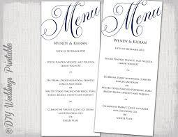 menu template wedding wedding menu template navy blue wedding menu diy wedding menu
