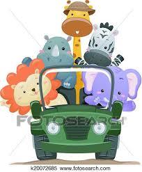 safari cartoon clipart of safari animal truck k20072685 search clip art
