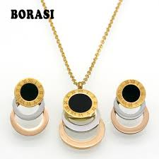 rose gold colour necklace images Consist 3 colour gold silver rose gold stainless steel jewelry jpg