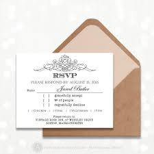 Invitation Reply Card Printable Rsvp Card Menu Choices Editable Instant Download