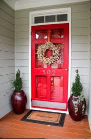 vintage red storm door with clear glass screen door window also