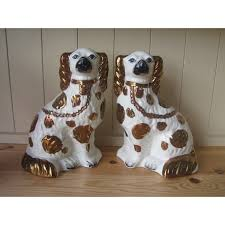 Antique Pair Of Royal Doulton Persian Vases Series Ware D3550 Pair Of Staffordshire Copper Lustre Spaniel Dogs
