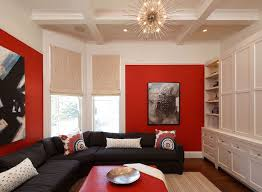 red and black room red built in cabinets contemporary media room peppermint bliss