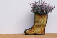 rain boot planter in blue hand painted country home decor