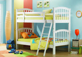 bedroom cute orange and white themes with double deck bunk bed