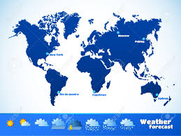 Map Of The Earth Weather Forecast Vector Illustration Map Of The Continents Of