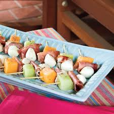 melon mozzarella and prosciutto skewers recipe myrecipes