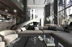 three luxurious apartments with dark modern interiors