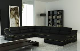 casa 5076 black leather sectional sofa