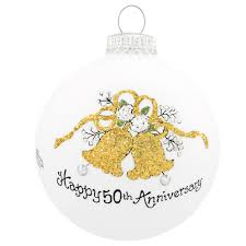 wedding anniversary ornaments 50th anniversary glass ornament bronner s christmas