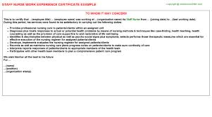 Sample Resume For Staff Nurse by Staff Nurse Work Experience Letters
