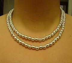 double strand beaded necklace images Double strand silver bead necklace jpg