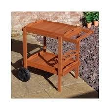 Patio Serving Table Outdoor Drinks Bar Trolley Garden Table Wooden Patio Serving