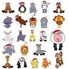 cute christmas animal set royalty free cliparts vectors and