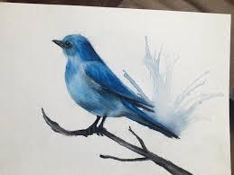 blue bird mixed media ink pencils prismas acrylic paint on