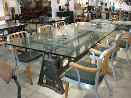 industrial glass dining table glass top dining table india ideas for the house pinterest