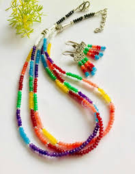 multi layered bead necklace images Multi layered gemstone handmade necklace set online in india azilaa jpeg
