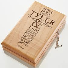 communion gift engraved wood valet box communion