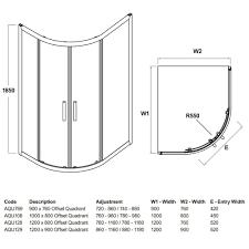 offset quadrant corner bathroom shower 6mm toughened clear glass