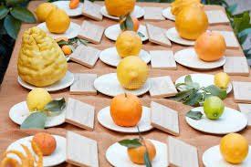 canape milan different types of citrus fruits at fair milan editorial photo