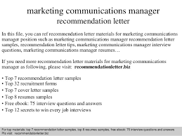 marketing communications manager recommendation letter