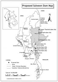 rivers in china map map of the 13 proposed dams on the salween nu river in china