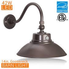 barn light fixtures 14 in bronze led gooseneck barn light fixture with gooseneck arm