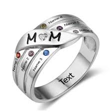family birthstone rings personalised groove family birthstone ring 925 sterling