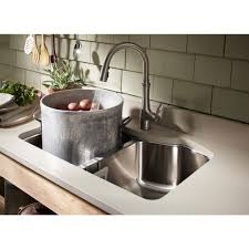 Stainless Faucets Kitchen by Kohler Bellera Single Handle Pull Down Sprayer Kitchen Faucet With