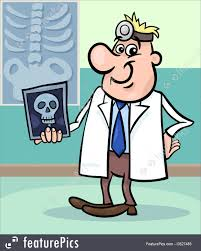 illustration of cartoon doctor with x ray