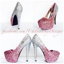 wedding shoes pink glitter high heels blush pink pumps light pink silver ombre
