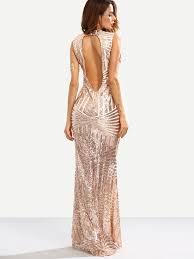 rose gold sequins elegant cut out back mermaid floor length