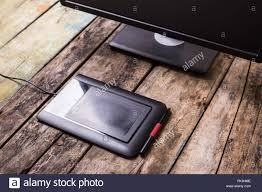 Small Wooden Desk Photographer Or Designer Workplace At Wooden Desk Small Graphic